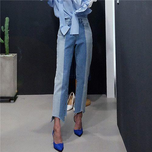 时尚小宽松高腰牛仔裤