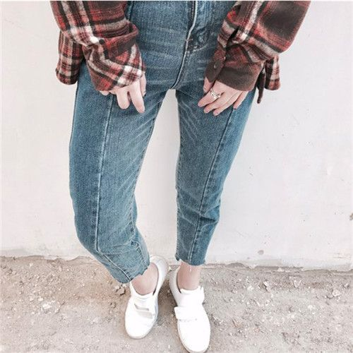 百搭复古风不规则显瘦九分牛仔裤
